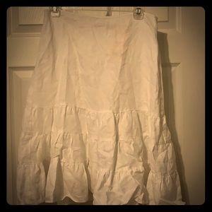 100% White linen midi ruffle skirt